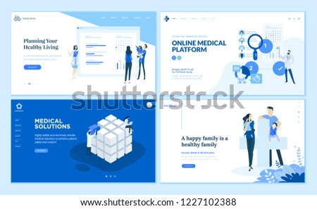 Web page design templates collection of medical solutions, online medical platform, healthy living, family medical protection. Vector illustration concepts for website and mobile website development.