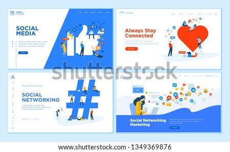 Web page design templates collection of social media, online communication, networking, digital marketing. Flat design vector illustration concepts for website and mobile website development.