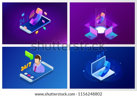 Web page design templates for call center support 24-7. Isometric 24 hours open customer service. Vector illustration Customer Service, Support or CRM