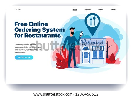 Web page design templates for restaurant reservation, ordering food, view menu, search restaurants. Man stands near the restaurant. Modern vector illustration concepts for website and mobile website