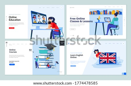 Web page design templates of distance education, online training and courses, language school. Vector illustration concepts for website development.