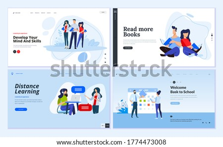 Web page design templates of distance learning, back to school, library and book store, business skill. Vector illustration concepts for website development.  Сток-фото ©