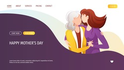 Web page design with adult daughter hugging her old mother with love. Motherhood, Parenthood, Childhood, Mother's Day Happy family concept. Vector Illustration for poster, banner, website.