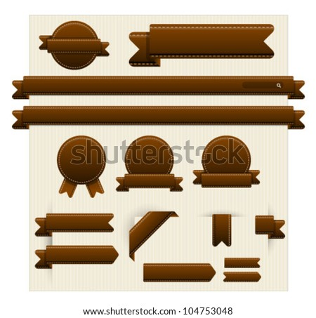 Web page elements in brown leather style