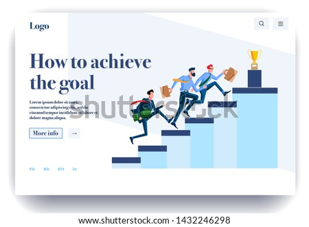 Web page flat design template for achievement goals. Business landing page online with info on how to achieve the goal. Modern vector illustration concept for website and mobile website development