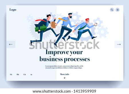 Web page flat design template for improve your business processes. Landing page online organization of working process. Modern vector illustration concept for website and mobile website development