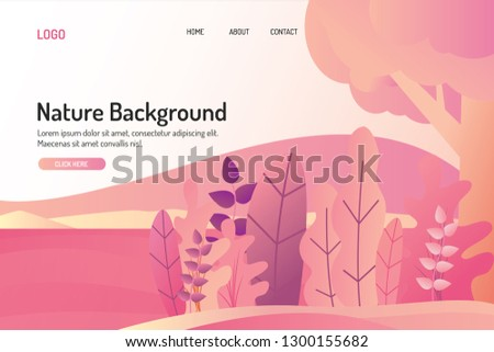 web page template design with modern nature illustration , back to nature illustration ,forest illustration