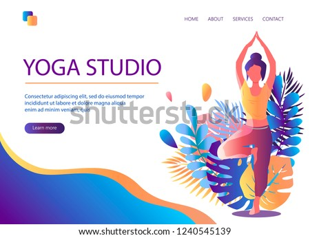 Web page template of Yoga Studio. Modern flat design concept of web page design for website and mobile website. Woman does yoga exercise, yoga pose. Vector illustration