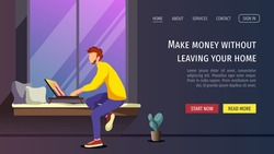 Web page template with young man working or learning at home. Freelance, work at home, online job, home office, e-learning concept. Vector illustration for poster, banner, website, flyer.
