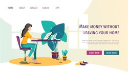 Web page template with young woman working at home. Freelance, work at home, online job and home office concept. Vector illustration in flat style for poster, banner and website development.