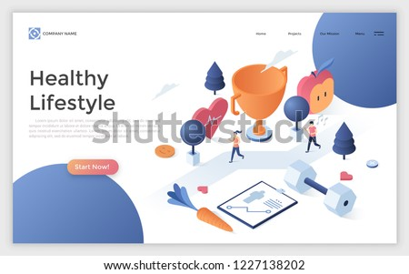 Web page with man and woman running marathon or jogging, giant dumbbell, champion cup. Active lifestyle, wholesome nutrition and sports. Creative design template. Isometric vector illustration.