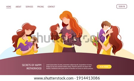 Web page with moms with their children of different ages. Motherhood, Parenthood, Childhood, Mother's Day, Happy family concept. Vector illustration for website, poster, banner.