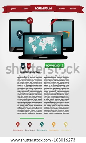 Web page with two mobile phones and one laptop