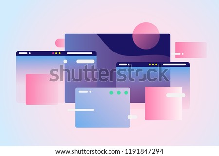 Web pages design composition. Creative smart network background. Gradient geometric forms in light pastel colors. Perfect illustration for startup, social media, advertising, marketing, management