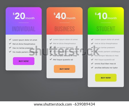 Web pricing table design for business. Hosting table banner.  Modern gradient style. Design element for website and mobile app, UI UX. Vector illustration. eps 10