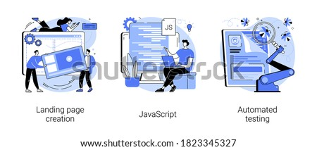 Web programming abstract concept vector illustration set. Landing page creation, JavaScript, automated testing, design template, website project, mobile application, UI optimization abstract metaphor.