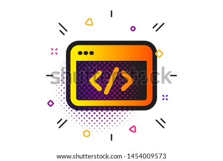 Web programming sign. Halftone circles pattern. Seo script icon. Traffic management symbol. Classic flat seo script icon. Vector