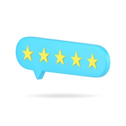 Web rating bubble with five stars 3d icon. Blue vote of satisfied customers. Online feedback among users with appraisal. Characteristics of buyers for services in market. Realistic isolated vector