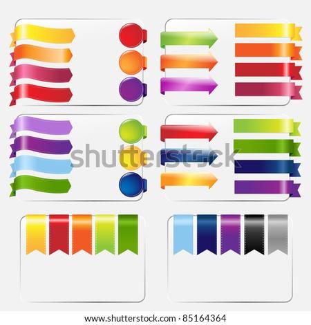 Web Ribbons Set, Isolated On White Background, Vector Illustration