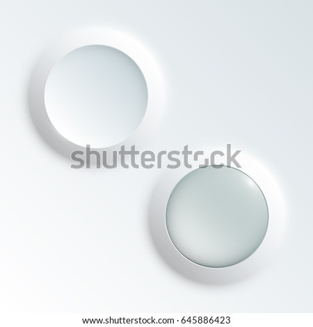 web round button with patch of reflected light for website or app. Isolated bell button sign with border, reflection and shadow on background. Vector button eps10.