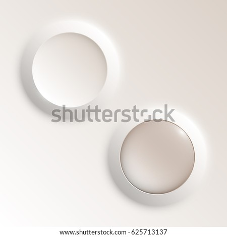 web round button with patch of reflected light for website or app. Isolated bell sign with border, reflection and shadow on background. Vector eps10.