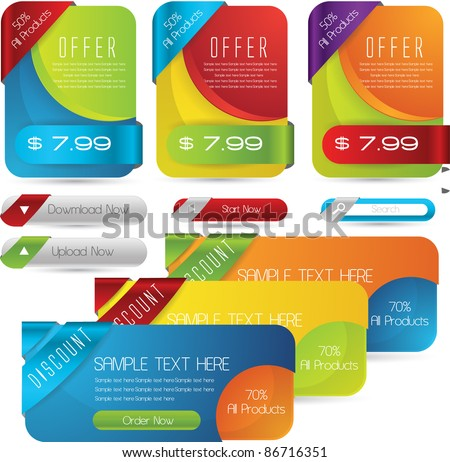 web sale banners with subscription forms and buttons set vector