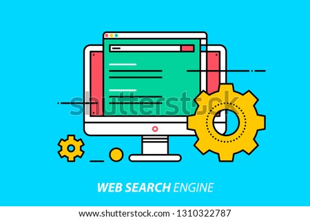 Web search engine. Colorful illustration on bright cyan background. Modern outline style.