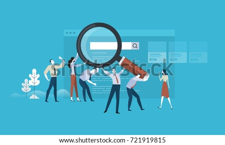 Web search. Flat design business people concept. Vector illustration concept for web banner, business presentation, advertising material.