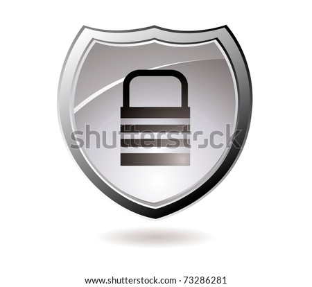Web security icon shield with silver trim and padlock