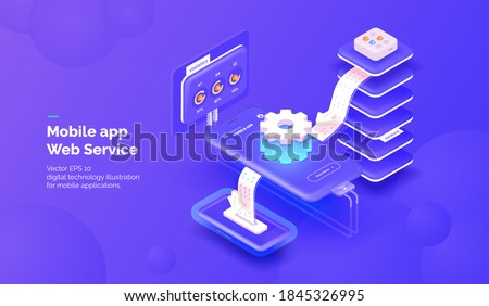 Web service for mobile applications. Integration systems. Mobile phone with a service for monitoring application parameters and obtaining statistical data. Vector illustration isometric style.