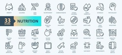 Web Set of Nutrition, Healthy food and Detox Diet Vector Thin Line Icons. Contains such Icons as Obesity, Caunt Calories, Palm oil free, Probiotics and more. Outline icons collection. Simple vector il