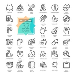 Web Set of Nutrition, Healthy food and Detox Diet Vector Thin Line Icons. Contains such Icons as Obesity, Caunt Calories, Palm oil free, Probiotics and more. Outline icons collection. Simple vector