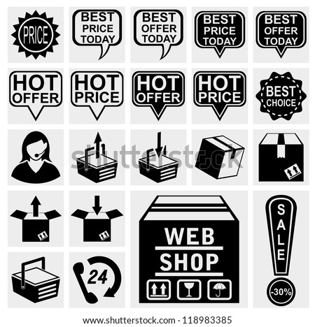 web shop icon shopping icon for placing online order on internet webshop brown cardboard box with text . Best hot offers speech bubbles set.