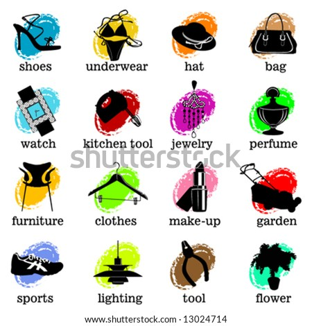 web site category icons vector