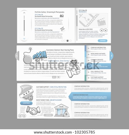Web site design menu navigation elements with icons set: Gallery Image slider - stock vector