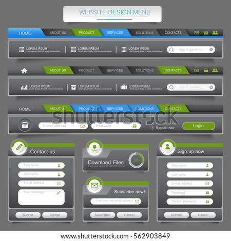Web site design menu navigation elements with icons set: Navigation menu bars,vector design element eps10 illustration