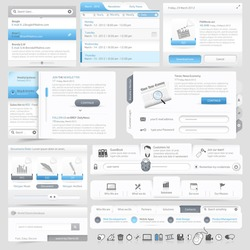 Web site design navigation elements with icons set