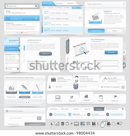Web site design navigation elements with icons set - stock vector