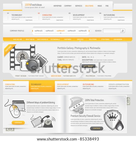 Web site design navigation template elements with icons set