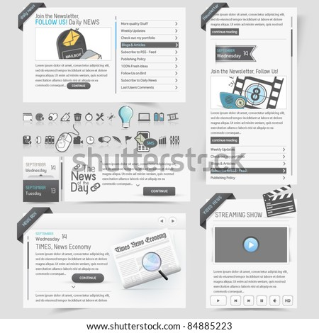 Web site  design template  elements with icons set - stock vector