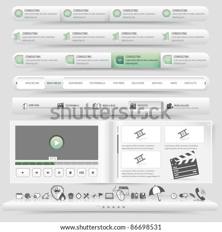 Web site design template navigation set with icon set