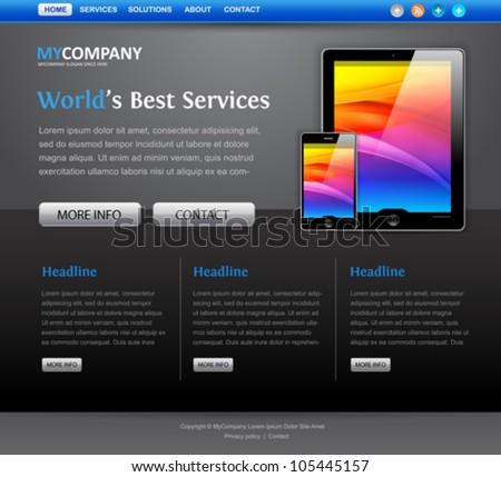 web site design template with tablet computer icons - stock vector