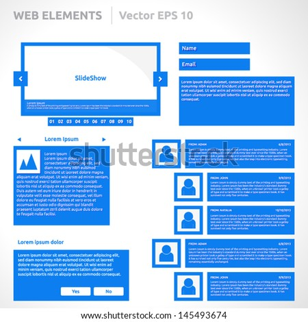 Web site elements template | color blue | abstract vector design | web page | icon login register slideshow pagination video player search bar form options steps vertical menu buttons comments icons