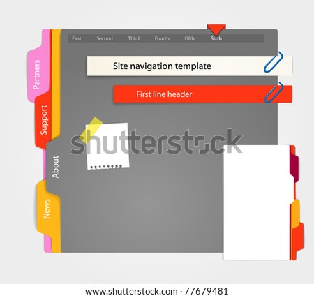 Web site gray template. Paper style
