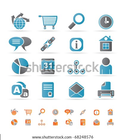 Web Site, Internet and computer Icons - vector icon set - stock vector