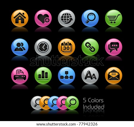 Web Site & Internet Icons // Gelcolor Series -------It includes 5 color versions for each icon in different layers ---------