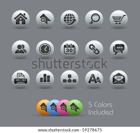 Web Site & Internet Icons// Pearly Series -------It includes 5 color versions for each icon in different layers ---------