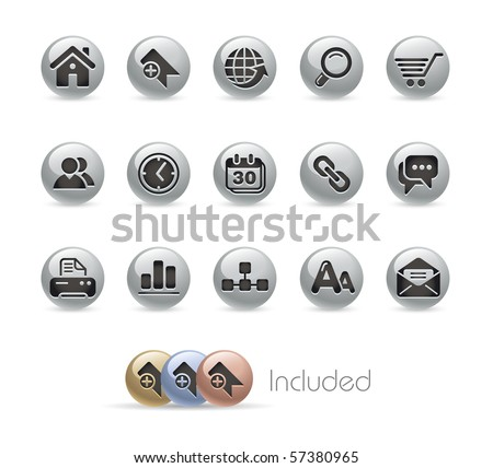Web Site & Internet // Metal Round Series --- It includes 4 color versions for each icon in different layers.---