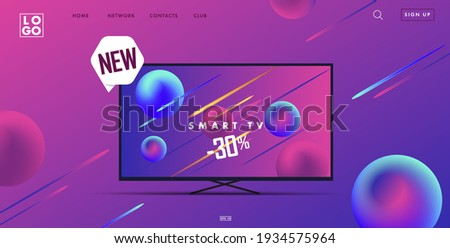 Web site landing page with 3d smart tv illustration and interface elements, gadget advertising promo banner in ultraviolet neon colors with new label