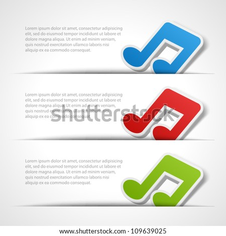 Web site music notes vector design elements set